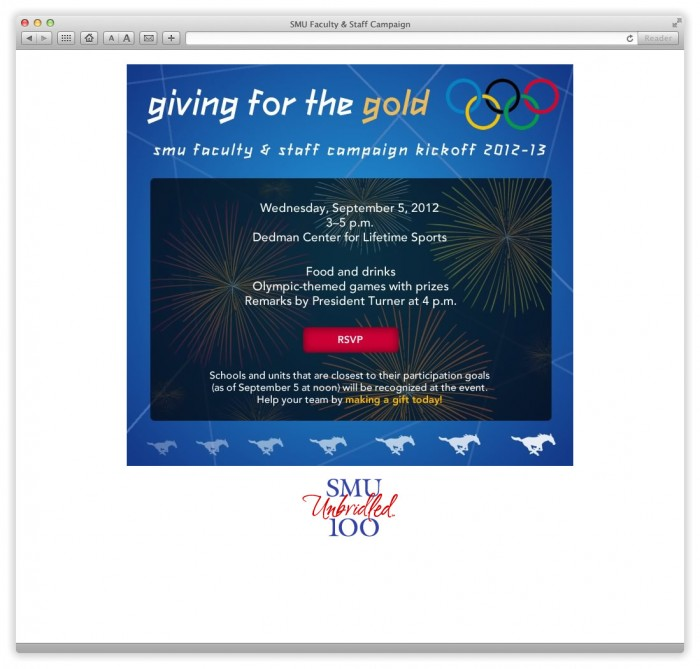 Email: SMU's Faculty & Staff Campaign 2012