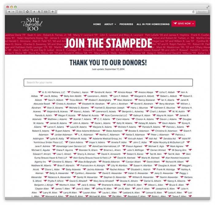 Join the Stampede Donor Wall