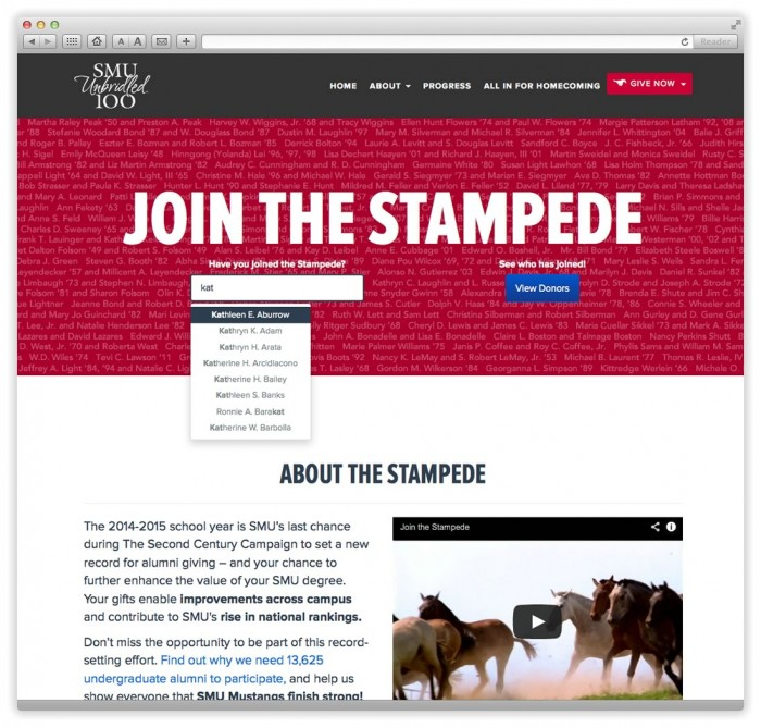Join the Stampede Home Page showing name search feature