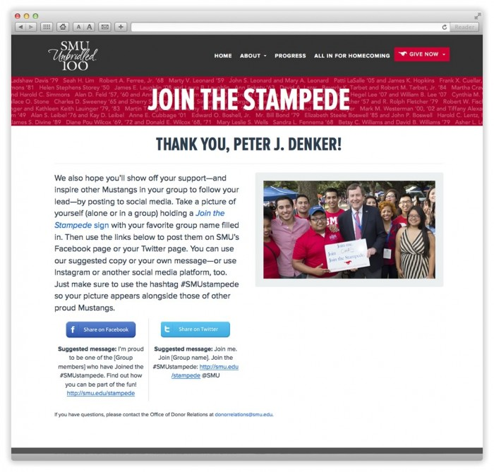 Join the Stampede Donor Search Results Page